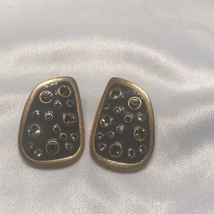 Jewelry - Gold and grey earrings with faux diamonds.